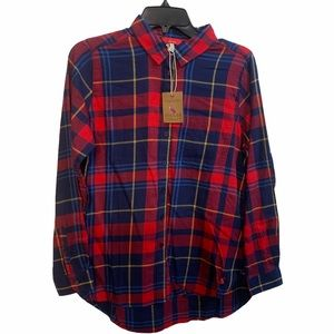 Joules red & blue plaid button up